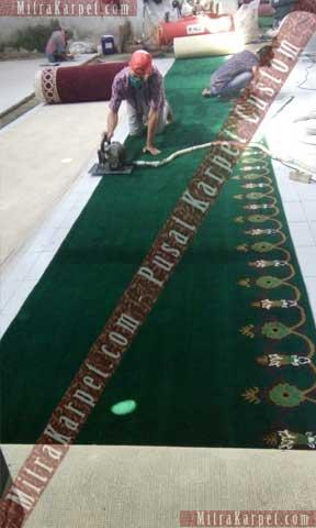 Proses shering dan finishing pada karpet masjid Al Munawwar Balikpapan
