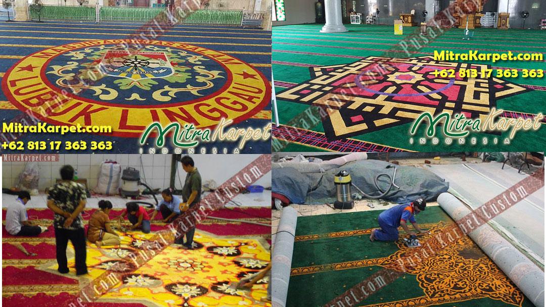 Karpet Masjid Custom Terpasang Indah dan Rapih