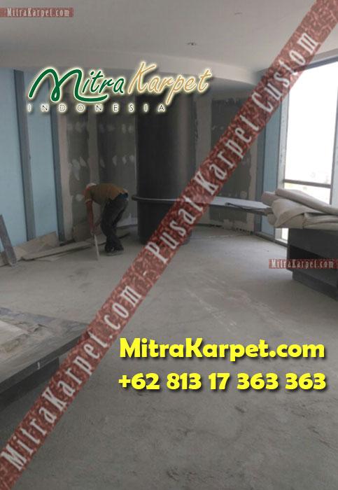 proses pemasangan karpet axminster hotel hilton surabaya