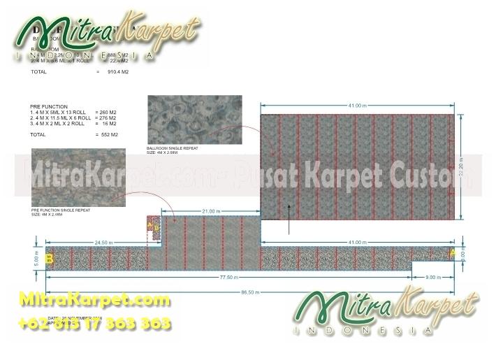 desain karpet ballroom hotel surabaya doubletree lengkap